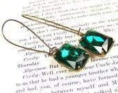 Long Emerald Green Earrings, Handmade Vintage Style Jewellery, Vintage Crystal Drops