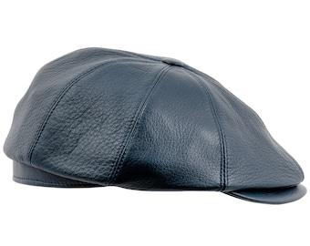 Genuine Leather Gatsby 8 Panels Flat Ivy Cap / Irish type - navy blue