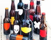 Beer labels. Writable, dishwasher safe -  48 qty labels, necks and pen - designed by GarageMonk