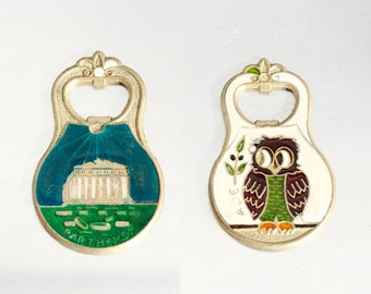 Vintage Bottle Opener Owl Parthenon Greece Colorful Farmhouse decor Gift for him OHTTEAM