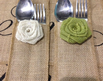 Burlap Silverware Holder with Rosette - Set of 6