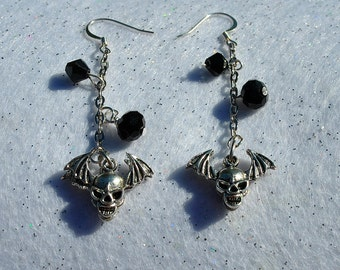 Silver Biker Earrings with Winged Skulls and black crystals
