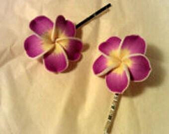 Fuschia and Yellow Plumeria Bobby Pin Set