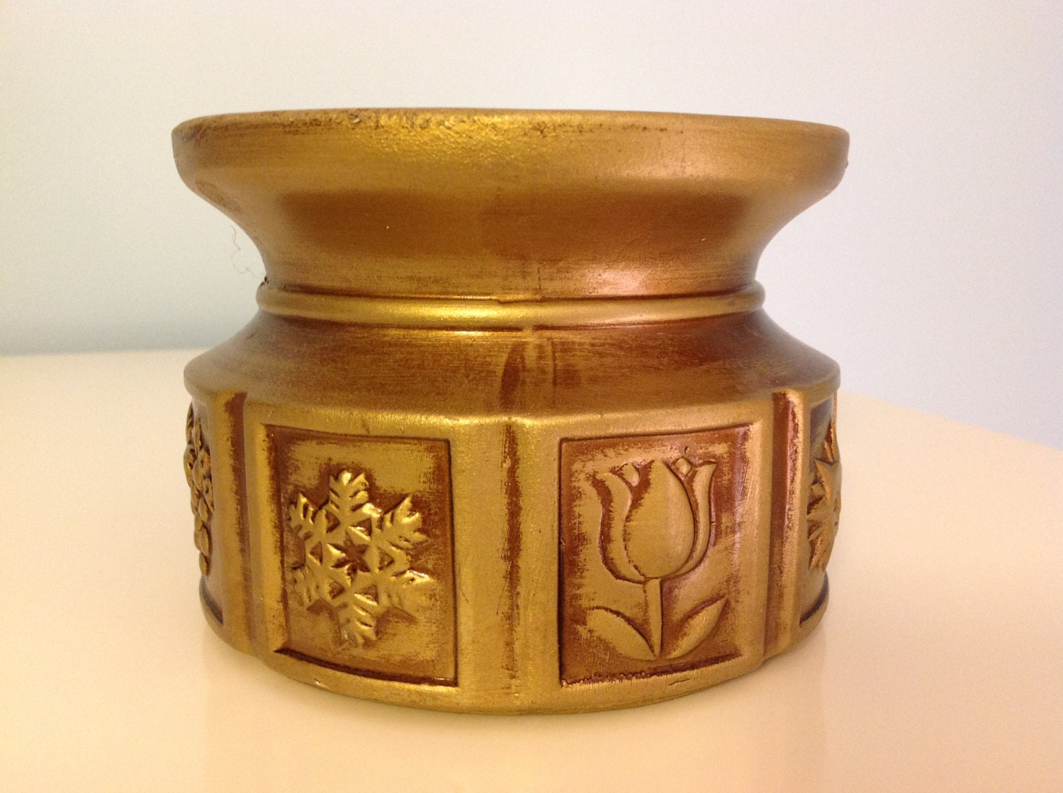 Vintage Candle Holder Gold Ceramic Four Seasons Candle Holder