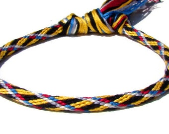 Woven yellow plaid friendship kumihimo bracelet with or without magnetic clasp-- your choice. Clasp sold separately.