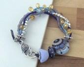 Purple bird bracelet, purple and blue bracelet, multistrand bracelet