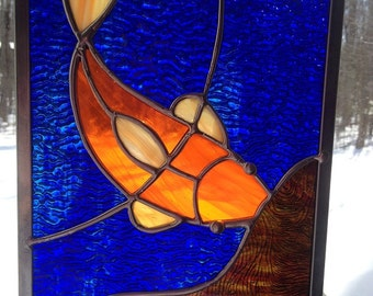 Stained Glass Goldfish/Koi Swimming in Pond