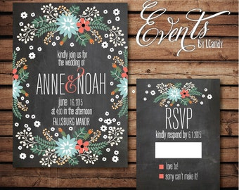 PRINTED Wedding Invitation with colorful border invitation and rsvp