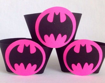 Pink Batman Cupcake Wrappers 12 count Batgirl Neon hot pink Batgirl birthday party