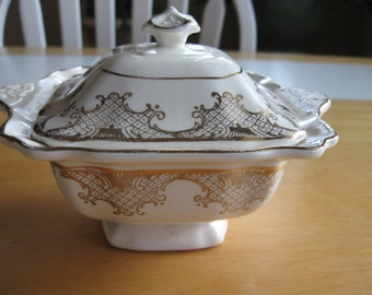 White and Gold Vintage, Covered, Handled Sugar Bowl