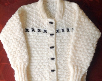 REDUCED PRICE Cream Aran Cardigan With Black Toggles & Embroidery