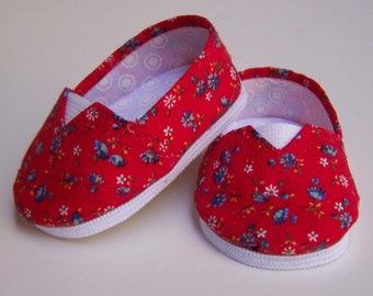 MADDIES - Toms Style Shoes fit 18 inch Dolls- Red with Blue Flowers