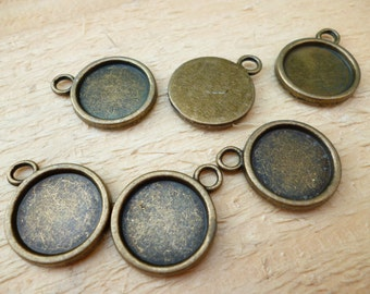 14mm Brass Cameo _ Cameo Charm Pendant_ Antique Bronze Round CSH_of:14mm_10 pcs