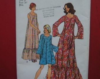 Muu Muu Sewing Pattern Simplicity 5681 size 12 Vintage Two Lengths Sleeve Variations Lounge Pool Festive