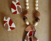 Retro 1960's Medallion Necklace and Earring Set