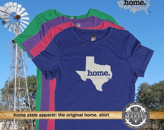 Texas Home T-shirt--Women's Red, Green, Royal, Pink, Purple, Charcoal