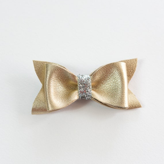 Gold Leather Hair Bow with Silver Sparkle