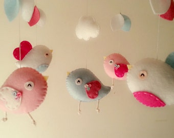 "Baby crib mobile, Bird mobile, felt mobile, nursery mobile, baby mobile, girl mobile ""Bird - Baby pink, Baby blue, and Magenta"