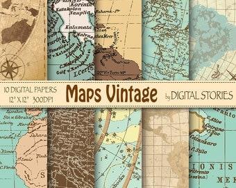 "Vintage maps digital paper: ""MAPS VINTAGE"" with world antique maps for scrapbooking, invites, cards, background - Buy 2 Get 1 Free"