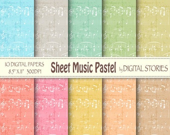 "Music digital paper: ""SHEET MUSIC PASTEL"" Music digital papers in pastel colors for scrapbook, invites, cards, background"