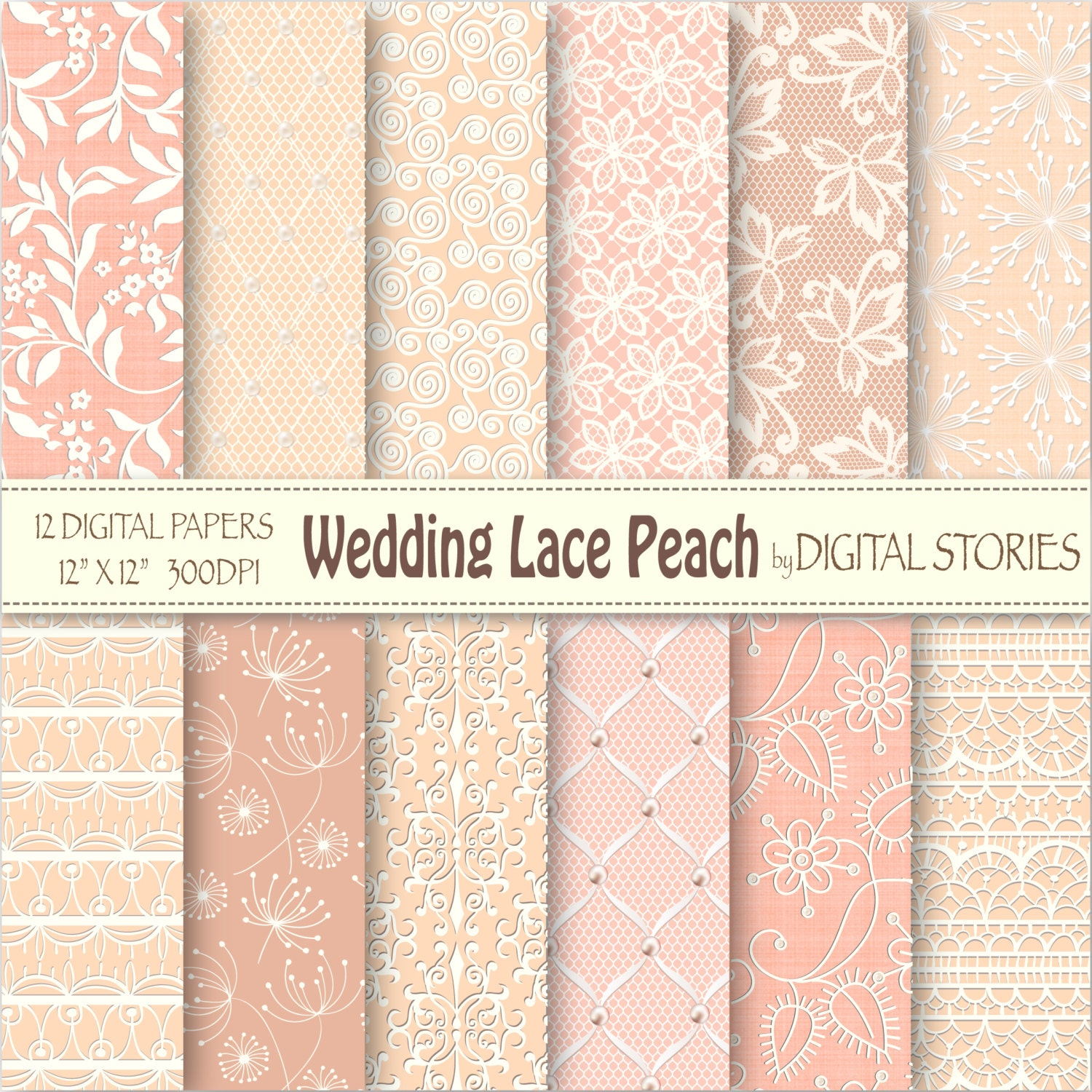Scrapbook paper lace - Wedding Lace Digital Paper Wedding Lace Peach With Peach Wedding Bridal Patterns For Scrapbooking Invites Cards