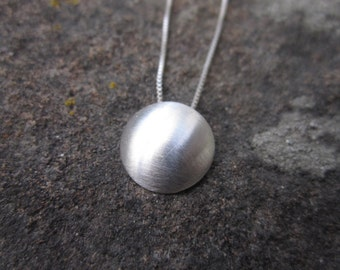 Recycled Brushed Sterling Silver Dome Pendant Necklace