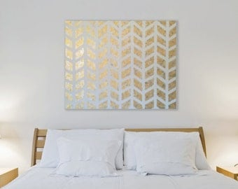 Gold Chevron Painting | Metallic Gold Wall Art | Modern Gold Geometric Painting