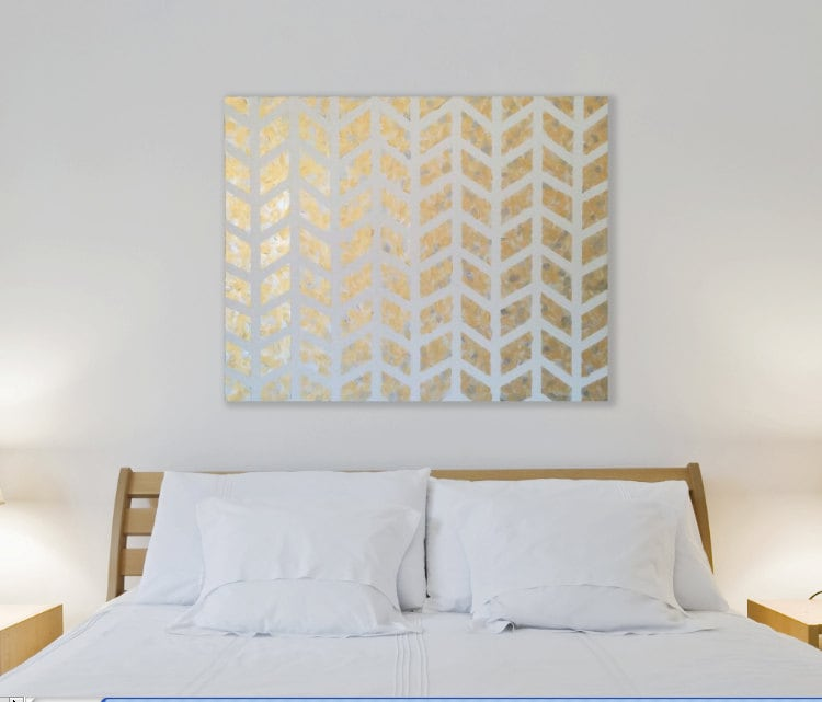 Wall Art Bedroom Modern : Gold chevron painting metallic wall art modern