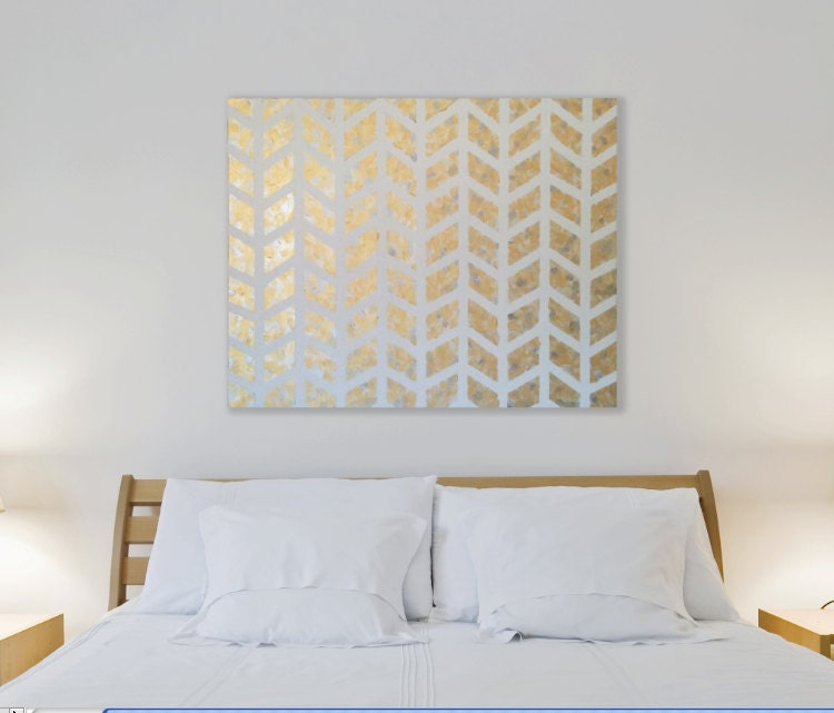Wall Art Decor Gold : Gold chevron painting metallic wall art modern