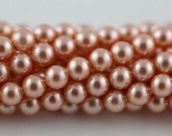 Rose Peach,4mm Swarovski Crystal Pearl,(5810) pkg of 25
