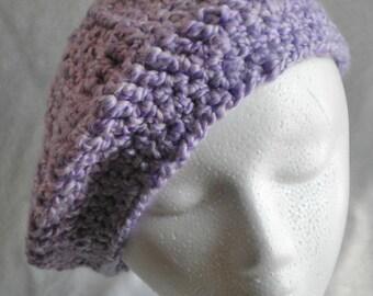Handknit  beret purple, bulky knit