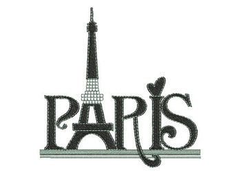 instant download embroidery  Paris eiffel tower