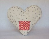 hand stamped little note heart pillow