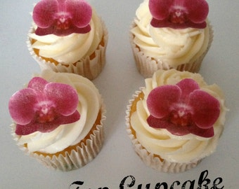 Edible Deep Pink Orchid Flower Cupcake Toppers -12