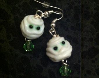 Lampwork Glass Mummy Earrings
