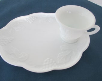 Vintage Pair White Harvest Grape And Leaf Milk Glass Snack Luncheon Plates With Cups Mid-Century Plates & Cups Harvest Pattern Luncheon Set