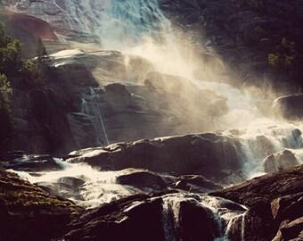 GRANDEUR photography print, Norway waterfall landscape, 8x12