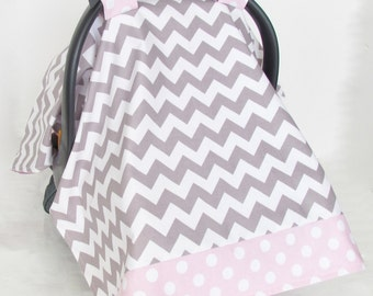 Infant Car Seat Cover, Baby Canopy, Grey and White Chevron and Light Pink Polka Dot