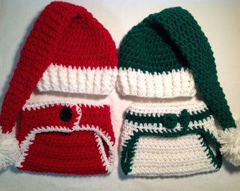Christmas Baby Crochet Hat and Diaper Cover: Santa Claus
