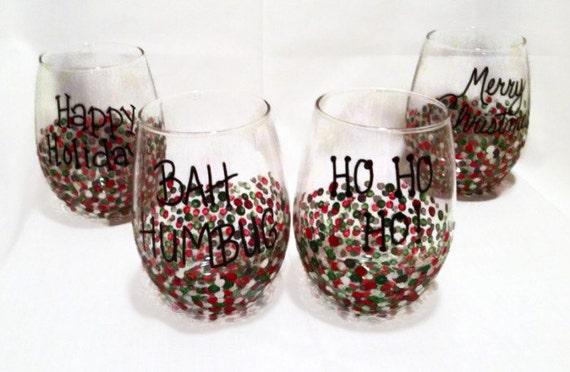 Christmas Stemless Wine Glasses Set of 4 Christmas glasses