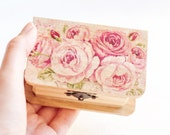 "Wooden box with a pink rose ""English Roses"" - Gift ideas, wedding decor, ring bearer box, jewelry box, floral"