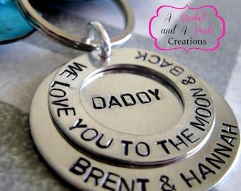 Custom I love you to the moon and back key chain