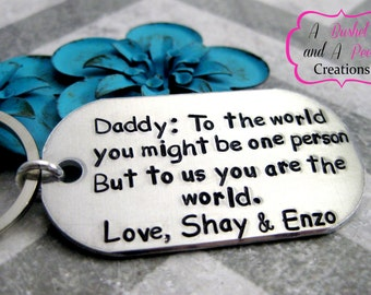 Custom Hand stamped To the world you might be one person key chain for Dad/Daddy/Mom/Mommy