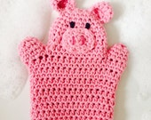 Crochet Pink Pig Wash Mitt / Bath Mitt -childrens bathtime