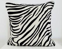 Animal Print Pillow Cover,Zebra Pillow ,Black velvet Pillow,White Velvet Pillow,Jab Josef Anstoetz Designer Fabric,Zebra Velvet Pillow Cover