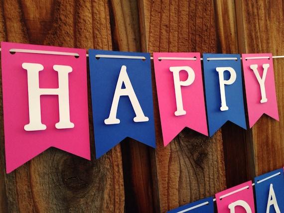 Pink and Blue Birthday Banner, Happy Birthday