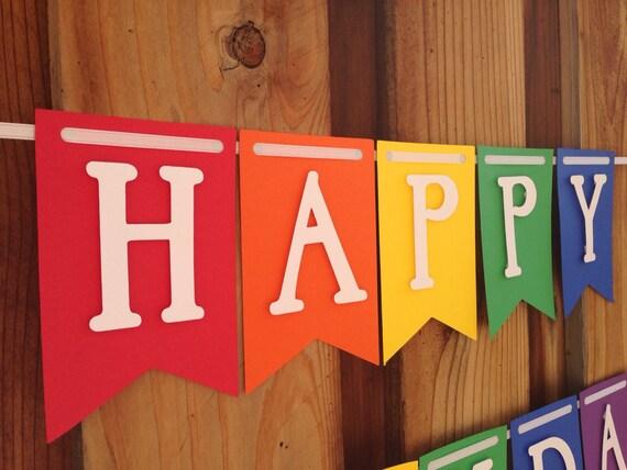 Rainbow Birthday Banner,  Birthday Banner, feliz cumpleaños
