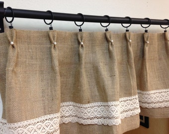 Pearl/lace burlap valance/ cafe curtains/