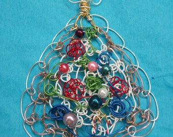Wire Weaving Handmade Wire Necklace Silver Wire Christmas Tree Wire Wrapped Great Christmas, Birthday, or Anniversary Gift