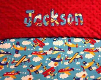 "Personalized Airplane Baby blanket with your child's name. 30"" x36"""